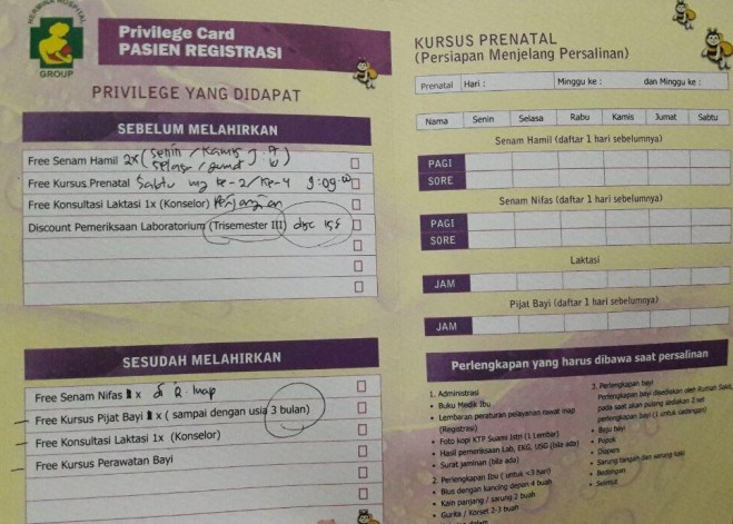 Privilege Card Pasien Registrasi
